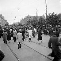 Fredsdagen i Köpenhamn. Köpenhamnsborna firar freden på Rådhuspladsen.