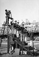Olympiska Spelen i Stockholm 1912. Tidtagare och fotograf under olympiaden på Stockholms Stadion.