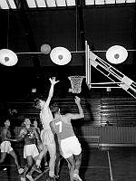 Ringvägen 68-70. Basketbollsmatch i Eriksdalshallen. Israels olympiska basketbollag möter ett svenskt lag.